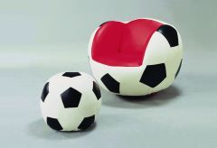 Crown Mark 7004 Soccer Chair & Ottoman Red Seat