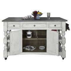 International Furniture Direct IFD469ISLAND Stone Kitchen Island w/ 3 Drawers, 2 Doors, 4 Shelves & Casters