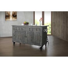 International Furniture Direct IFD686ISLAND Moro Kitchen Island w/ 3 Drawers, 5 Doors, 3 Shelves & Casters