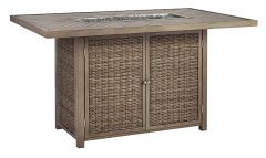 Ashley Furniture P791-665 Beachcroft RECT Bar Table w/Fire Pit